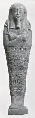 Ushabti of Ptah-semem-psamtik, 664-525 B.C.E. Faience, 7 13/16 x 1 15/16 x depth through base 1 9/16 in. (19.8 x 5 x 4 cm). Brooklyn Museum, Charles Edwin Wilbour Fund, 37.140E. Creative Commons-BY