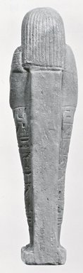 Ushabti of Ptah-semem-psamtik, 664-525 B.C.E. Faience, 7 13/16 x 1 15/16 x depth through base 1 9/16 in. (19.8 x 5 x 4 cm). Brooklyn Museum, Charles Edwin Wilbour Fund, 37.140E. Creative Commons-BY