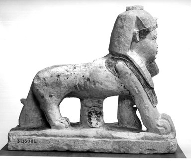 God Tutu as a Sphinx, 1st century C.E. or later. Limestone, paint, 14 1/4 x 5 1/16 x 16 11/16 in. (36.2 x 12.8 x 42.4 cm). Brooklyn Museum, Charles Edwin Wilbour Fund, 37.1509E. Creative Commons-BY