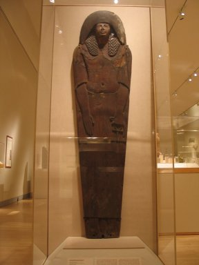 Ramesside Mummy Board, ca. 1295-1185 B.C.E. Wood, gessoed and painted, 73 x 19 3/4 x 5 3/8 in. (185.4 x 50.2 x 13.7 cm). Brooklyn Museum, Charles Edwin Wilbour Fund, 37.1520E. Creative Commons-BY