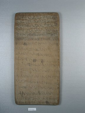 Board, 3rd or 4th century C.E. Wood, 12 1/16 x 5 3/4 x 1/4 in. (30.6 x 14.6 x 0.6 cm). Brooklyn Museum, Charles Edwin Wilbour Fund, 37.1724E. Creative Commons-BY