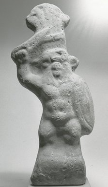 Statuette of Bes as a Warrior, 30 B.C.E. - 395 C.E. Terracotta, slip, 7 5/8 x 1 9/16 x 2 11/16 in. (19.3 x 3.9 x 6.9 cm). Brooklyn Museum, Charles Edwin Wilbour Fund, 37.1778E. Creative Commons-BY