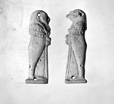 Set of Four Sons of Horus in Relief. Faience, glazed, Average measurements: 1 9/16 x 4 3/4 x 1/8 in. (4 x 12 x 0.3 cm). Brooklyn Museum, Charles Edwin Wilbour Fund, 37.1806Ea-d. Creative Commons-BY