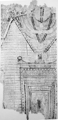 Funerary Shroud. Fine linen, painted and gilded, 37.1815Ea: 16 15/16 x 19 5/16 in. (43 x 49 cm). Brooklyn Museum, Charles Edwin Wilbour Fund, 37.1815Ea-b. Creative Commons-BY
