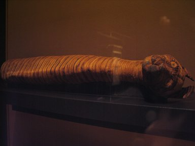 Cat Mummy, 750-400 B.C.E. Animal remains, linen, 23 13/16 x 4 3/4 x 5 1/2 in. (60.5 x 12.1 x 14 cm). Brooklyn Museum, Charles Edwin Wilbour Fund, 37.1988E. Creative Commons-BY