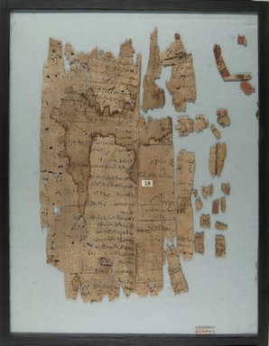 Oblong Fragment, 4th - 3rd century B.C.E. Papyrus, ink, Glass: 14 x 17 15/16 in. (35.5 x 45.6 cm). Brooklyn Museum, Charles Edwin Wilbour Fund, 37.2005E