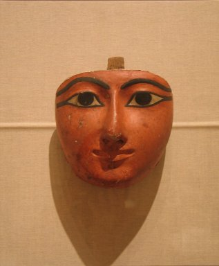 Face from an Anthropoid Coffin, ca. 1070-945 B.C.E. Wood, gesso, pigment, 8 7/16 x 8 1/16 x 4 5/16 in. (21.5 x 20.5 x 11 cm). Brooklyn Museum, Charles Edwin Wilbour Fund, 37.2037E. Creative Commons-BY