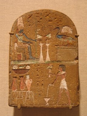 Stela of Pth-m'y, ca. 1295-1185 B.C.E. Sandstone, painted, 7 5/16 x 5 1/8 x 2 3/16 in. (18.5 x 13 x 5.5 cm). Brooklyn Museum, Charles Edwin Wilbour Fund, 37.265E. Creative Commons-BY