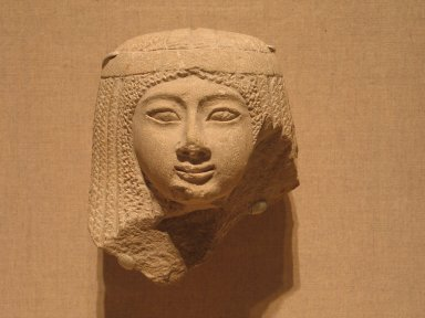 Female Head, ca. 1336-1185 B.C.E. Limestone, 5 1/2 x 5 x 3 1/2 in. (14 x 12.7 x 8.9 cm). Brooklyn Museum, Charles Edwin Wilbour Fund, 37.268E. Creative Commons-BY