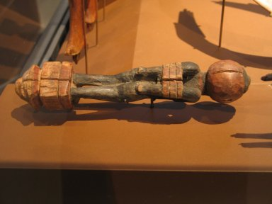 Egyptian. Handle of a Fly Whisk (?) in the Form of Bound Nubian, ca. 1539-1292 B.C.E. Wood, 1 7/16 x 8 3/16 in. (3.6 x 20.8 cm). Brooklyn Museum, Charles Edwin Wilbour Fund, 37.275E. Creative Commons-BY
