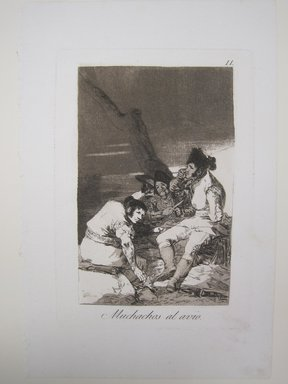 Francisco de Goya y Lucientes (Spanish, 1746-1828). Lads Making Ready (Muchachos al avío), 1797-1798. Etching, aquatint, and burin on laid paper, Sheet: 11 7/8 x 8 in. (30.2 x 20.3 cm). Brooklyn Museum, A. Augustus Healy Fund, Frank L. Babbott Fund, and Carll H. de Silver Fund, 37.33.11