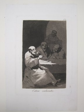 Francisco de Goya y Lucientes (Spanish, 1746-1828). They Are Hot (Estan calientes), 1797-1798. Etching and aquatint on laid paper, Sheet: 11 13/16 x 7 15/16 in. (30 x 20.2 cm). Brooklyn Museum, A. Augustus Healy Fund, Frank L. Babbott Fund, and Carll H. de Silver Fund, 37.33.13