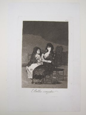 Francisco de Goya y Lucientes (Spanish, 1746-1828). Pretty Teachings (Bellos consejos), 1797-1798. Etching, aquatint, and burin on laid paper, Sheet: 11 15/16 x 7 15/16 in. (30.3 x 20.2 cm). Brooklyn Museum, A. Augustus Healy Fund, Frank L. Babbott Fund, and Carll H. de Silver Fund, 37.33.15