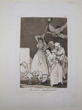 Francisco de Goya y Lucientes (Spanish, 1746-1828). There They Go Plucked (Ya van desplumados), 1797-1798. Etching, aquatint, and drypoint on laid paper, Sheet: 11 7/8 x 5 3/16 in. (30.2 x 13.2 cm). Brooklyn Museum, A. Augustus Healy Fund, Frank L. Babbott Fund, and Carll H. de Silver Fund, 37.33.20