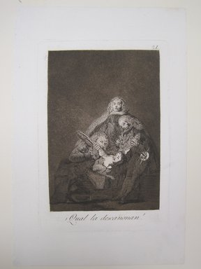 Francisco de Goya y Lucientes (Spanish, 1746-1828). How They Pluck Her (¡Qual la descañonan!), 1797-1798. Etching and aquatint on laid paper, Sheet: 11 7/8 x 7 15/16 in. (30.2 x 20.2 cm). Brooklyn Museum, A. Augustus Healy Fund, Frank L. Babbott Fund, and Carll H. de Silver Fund, 37.33.21
