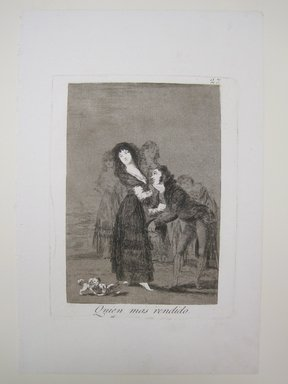 Francisco de Goya y Lucientes (Spanish, 1746-1828). Which of Them Is the More Overcome? (Quien mas rendido?), 1797-1798. Etching, aquatint, and drypoint, Sheet: 11 7/8 x 7 7/8 in. (30.2 x 20 cm). Brooklyn Museum, A. Augustus Healy Fund, Frank L. Babbott Fund, and Carll H. de Silver Fund, 37.33.27