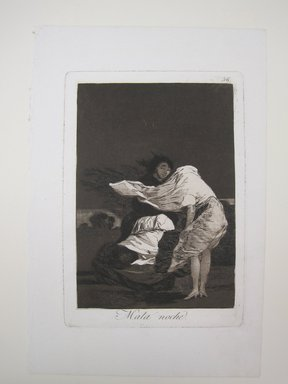 Francisco de Goya y Lucientes (Spanish, 1746-1828). A Bad Night (Mala noche), 1797-1798. Etching and aquatint on laid paper, Sheet: 11 7/8 x 7 15/16 in. (30.2 x 20.2 cm). Brooklyn Museum, A. Augustus Healy Fund, Frank L. Babbott Fund, and Carll H. de Silver Fund, 37.33.36
