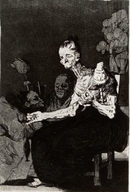 Francisco de Goya y Lucientes (Spanish, 1746-1828). They Spin Finely (Hilan delgado), 1797-1798. Etching and aquatint, Sheet: 11 7/8 x 8 in. (30.2 x 20.3 cm). Brooklyn Museum, A. Augustus Healy Fund, Frank L. Babbott Fund, and Carll H. de Silver Fund, 37.33.44