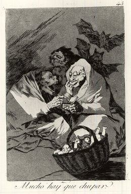 Francisco de Goya y Lucientes (Spanish, 1746-1828). There Is Plenty to Suck (Mucho hay que chupar), 1797-1798. Etching and aquatint on laid paper, Sheet: 11 7/8 x 7 15/16 in. (30.2 x 20.2 cm). Brooklyn Museum, A. Augustus Healy Fund, Frank L. Babbott Fund, and Carll H. de Silver Fund, 37.33.45