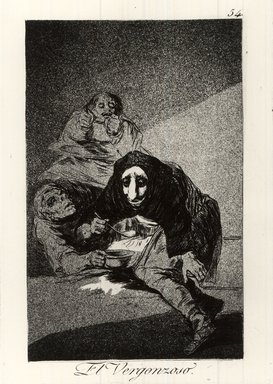 Francisco de Goya y Lucientes (Spanish, 1746-1828). The Shamefaced One (El Vergonzoso), 1797-1798. Etching and aquatint on laid paper, Sheet: 11 7/8 x 7 15/16 in. (30.2 x 20.2 cm). Brooklyn Museum, A. Augustus Healy Fund, Frank L. Babbott Fund, and Carll H. de Silver Fund, 37.33.54