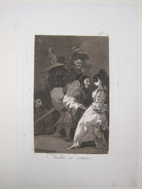 Francisco de Goya y Lucientes (Spanish, 1746-1828). Nobody Knows Himself (Nadie se conoce), 1797-1798. Etching and aquatint on laid paper, Sheet (Uneven): 11 13/16 x 7 7/8 in. (30 x 20 cm). Brooklyn Museum, A. Augustus Healy Fund, Frank L. Babbott Fund, and Carll H. de Silver Fund, 37.33.6