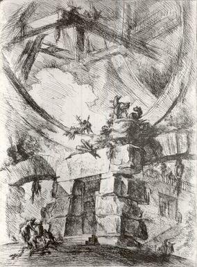 Giovanni Battista Piranesi (Italian, Venetian, 1720-1778). Invenzioni Capric di Carceri, Hind 9, First State of Three, ca. 1749. Etching on laid paper, 21 13/16 x 16 1/8 in. (55.4 x 40.9 cm). Brooklyn Museum, Frank L. Babbott Fund and Carll H. de Silver Fund, 37.356.7