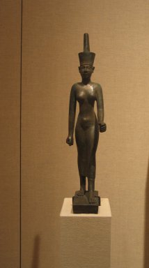 Statuette of Neith, ca. 380-30 B.C.E. or later. Bronze, electrum, 12 3/8 x 4 3/4 x 2 5/8 in. (31.4 x 12.1 x 6.7 cm). Brooklyn Museum, Charles Edwin Wilbour Fund, 37.357E. Creative Commons-BY