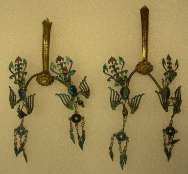 Pair of Hairpins, 19th century. Silver gilt, enamel, metal wire, 3 9/16 x 2 9/16 in. (9 x 6.5 cm). Brooklyn Museum, Frank L. Babbott Fund, 37.371.213. Creative Commons-BY
