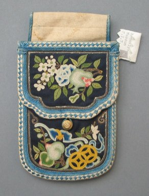 Pouch, Late 19th - early 20th century. Cotton, silk, 6 1/8 x 3 5/8 in. (15.5 x 9.2 cm). Brooklyn Museum, Frank L. Babbott Fund, 37.371.327. Creative Commons-BY
