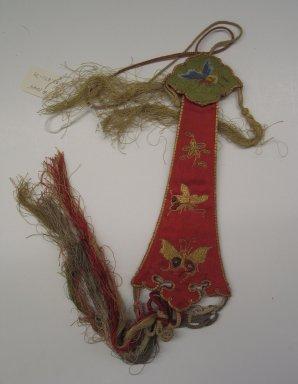 Pendant Accessory. Silk, satin, 8 11/16 x 3 1/8 in. (22 x 8 cm). Brooklyn Museum, Frank L. Babbott Fund, 37.371.79. Creative Commons-BY