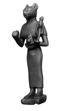 Standing Bastet, 332-30 B.C.E. Bronze, 4 13/16 x 1 7/16 x 1 1/2 in. (12.2 x 3.6 x 3.8 cm). Brooklyn Museum, Charles Edwin Wilbour Fund, 37.379E. Creative Commons-BY
