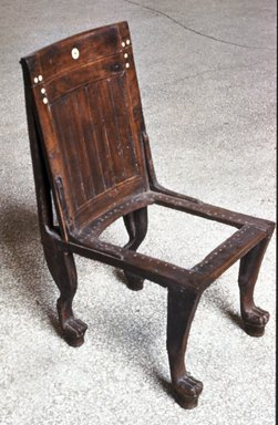 Chair, ca. 1400-1292 B.C.E. Wood, bone, modern fiber, 35 7/16 x 17 15/16 x 18 5/8 in. (90 x 45.6 x 47.3 cm). Brooklyn Museum, Charles Edwin Wilbour Fund, 37.40E. Creative Commons-BY