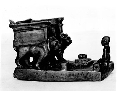Throne with Lions and Worshipper, 664-332 B.C.E. Bronze, 3 1/16 x 3 7/8 x 2 9/16 in. (7.8 x 9.8 x 6.5 cm). Brooklyn Museum, Charles Edwin Wilbour Fund, 37.418E. Creative Commons-BY