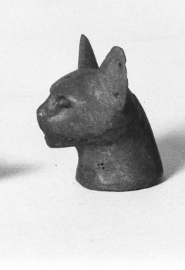 Separate Head of a Cat Probably from a Small Sarcophagus. Bronze, 2 1/2 x 1 11/16 x 1 15/16 in. (6.3 x 4.3 x 4.9 cm). Brooklyn Museum, Charles Edwin Wilbour Fund, 37.428E. Creative Commons-BY