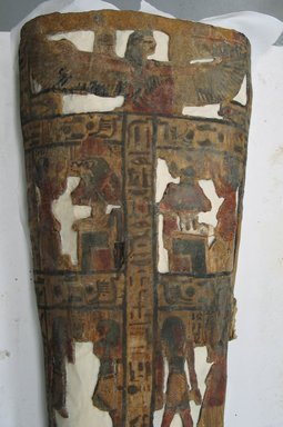 Coffin of the Lady of the House, Weretwahset, Reinscribed for Bensuipet Containing Face Mask and Openwork Body Covering, ca. 1292-1190 B.C.E. Wood, painted (fragments a, b); Cartonnage, wood (fragment c; cartonnage (fragment d)