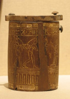 Cylindrical Toilet Box with Swivelled Cover, ca. 1336-1295 B.C.E. Wood Brooklyn Museum, Charles Edwin Wilbour Fund, 37.600E. Creative Commons-BY