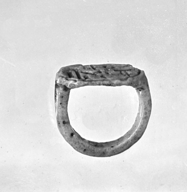 Signet Ring Bearing Cartouche of Tutankhamun, ca. 1329-1322 B.C.E. Faience, 13/16 x 1/2 x 3/4 in. (2 x 1.2 x 1.9 cm). Brooklyn Museum, Charles Edwin Wilbour Fund, 37.889E. Creative Commons-BY