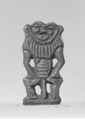 Amulet in the Form of Bes-Image, 1539-1075 B.C.E. Faience, glazed, 1 1/8in. (2.9cm). Brooklyn Museum, Charles Edwin Wilbour Fund, 37.913E. Creative Commons-BY
