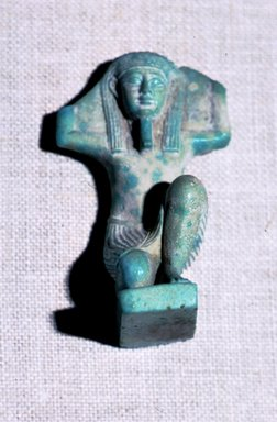 Statuette of Shu, 332-30 B.C.E. Faience, glazed, 2 9/16 x 1 1/2 x 1 1/4 in. (6.5 x 3.8 x 3.1 cm). Brooklyn Museum, Charles Edwin Wilbour Fund, 37.953E. Creative Commons-BY