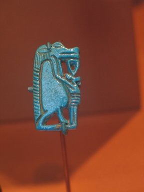 Amulet of Taweret, ca. 1539-1478 B.C.E. Faience, 1 1/4 x 5/8 x 1/8 in. (3.2 x 1.6 x 0.3 cm). Brooklyn Museum, Charles Edwin Wilbour Fund, 37.967E. Creative Commons-BY