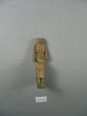 Small Statue of Bast Seated. Faience, glazed, 2 15/16 x 7/8 x 1 7/16 in. (7.4 x 2.3 x 3.6 cm). Brooklyn Museum, Charles Edwin Wilbour Fund, 37.978E. Creative Commons-BY