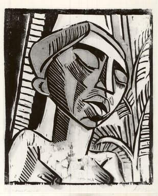 Max Pechstein (German, 1881-1955). Clerong, 1917. Hand-cut woodcut in turquoise, orange and black on wove paper, Image: 9 5/8 x 7 15/16 in. (24.4 x 20.2 cm). Brooklyn Museum, By exchange, 38.192