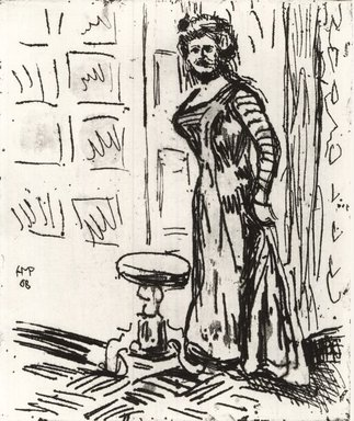 Max Pechstein (German, 1881-1955). Woman at the Door (Fran au der Türe), 1908. Etching and drypoint on coarse laid paper, Image (Plate): 11 13/16 x 9 13/16 in. (30 x 24.9 cm). Brooklyn Museum, By exchange, 38.194