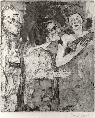 Emil Nolde (German, 1867-1956). Woman, Man, Servant (Frau, Mann, Diener), 1918. Etching with stipple and tonal effects on wove paper, Image (Plate): 10 1/4 x 8 5/8 in. (26 x 21.9 cm). Brooklyn Museum, Brooklyn Museum Collection, 38.215
