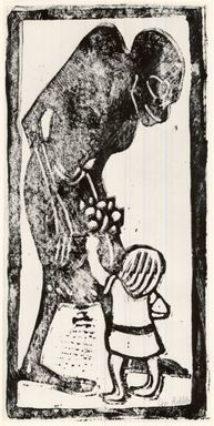 Christian Rohlfs (German, 1849-1939). Death and Child (Tod und Kind), ca. 1912-1913. Lithograph on wove paper, Image: 14 1/2 x 7 7/8 in. (36.8 x 20 cm). Brooklyn Museum, By exchange, 38.267
