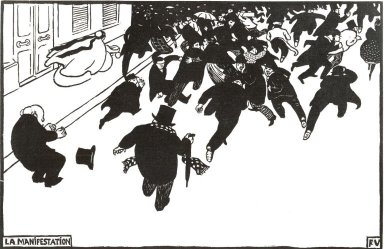 Félix Vallotton (Swiss, 1865-1925). La Manifestation, 1893. Woodcut on wove paper, 8 x 12 9/16 in. (20.3 x 31.9 cm). Brooklyn Museum, Charles Stewart Smith Memorial Fund, 38.341