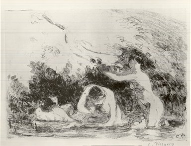 Camille Jacob Pissarro (French, born Danish West Indies, 1830-1903). Bathers in the Shade of Wooded Banks (Baigneuses à l'ombre des berges boisées), 1894. Lithograph on chine colle paper, 6 1/8 x 8 11/16 in. (15.5 x 22 cm). Brooklyn Museum, Charles Stewart Smith Memorial Fund, 38.420