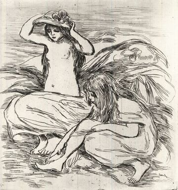Pierre-Auguste Renoir (French, 1841-1919). Les Deux Baigneuses, ca. 1895. Etching on buff wove paper, 10 5/16 x 9 1/2 in. (26.2 x 24.1 cm). Brooklyn Museum, Charles Stewart Smith Memorial Fund, 38.422