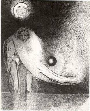 Odilon Redon (French, 1840-1916). The Buddha (Le Buddha), 1895. Lithograph on China paper laid down, 12 5/16 x 9 3/4 in. (31.3 x 24.8 cm). Brooklyn Museum, Charles Stewart Smith Memorial Fund, 38.423