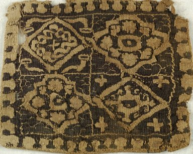 Coptic. Textile, 6th century C.E. Flax, wool, 4 1/2 x 3 5/8 in. (11.4 x 9.2 cm). Brooklyn Museum, Charles Edwin Wilbour Fund, 38.658. Creative Commons-BY